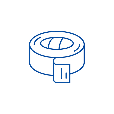 Insulating tape line concept icon. Insulating tape flat  vector website sign, outline symbol, illustration.