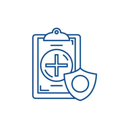 Insurance line concept icon. Insurance flat  vector website sign, outline symbol, illustration.