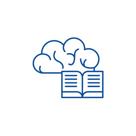 Intellectual information line concept icon. Intellectual information flat  vector website sign, outline symbol, illustration.