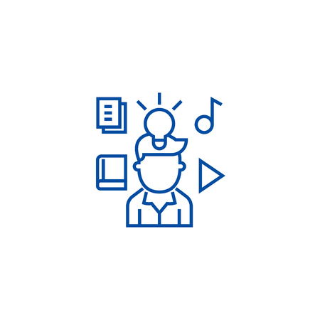 Intellectual property rights line concept icon. Intellectual property rights flat  vector website sign, outline symbol, illustration.  イラスト・ベクター素材