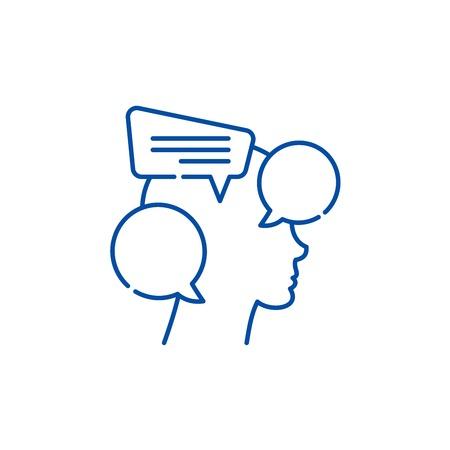 Internal dialogue line concept icon. Internal dialogue flat  vector website sign, outline symbol, illustration. Ilustracja