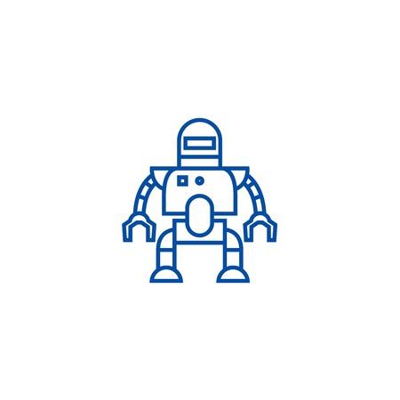 Industrial robot line concept icon. Industrial robot flat vector website sign, outline symbol, illustration. Vector Illustration
