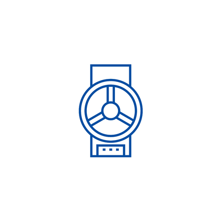 Industrial valve  line concept icon. Industrial valve  flat  vector website sign, outline symbol, illustration.