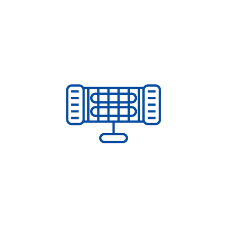 Infrared heater line concept icon. Infrared heater flat  vector website sign, outline symbol, illustration.  イラスト・ベクター素材