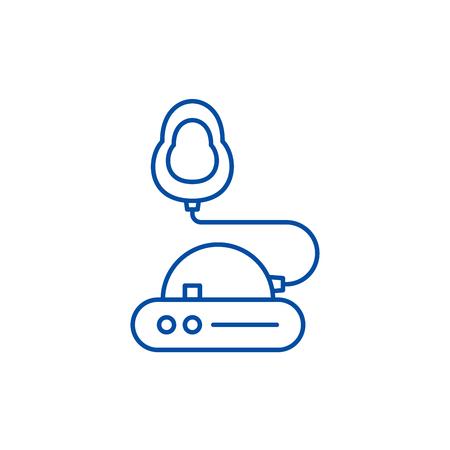 Icono de concepto de línea de inhalación. Sitio web de vector plano de inhalación de señal, símbolo de contorno, Ilustración. Ilustración de vector