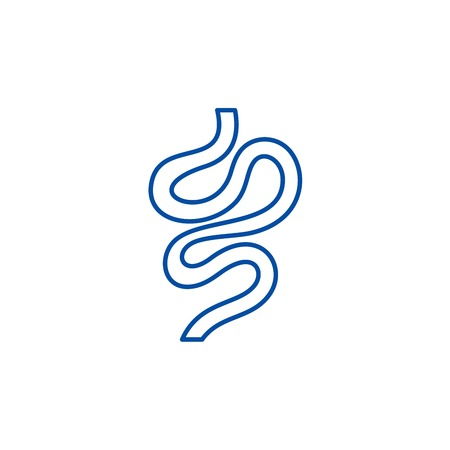 Intestines line concept icon. Intestines flat  vector website sign, outline symbol, illustration.