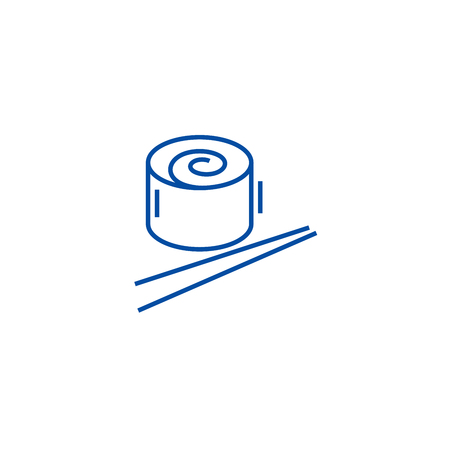 Japan restaurant, sushi roll line concept icon. Japan restaurant, sushi roll flat  vector website sign, outline symbol, illustration.  イラスト・ベクター素材