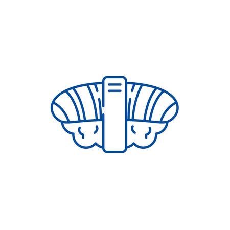 Japanese sushi line concept icon. Japanese sushi flat  vector website sign, outline symbol, illustration.