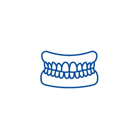 Jaw with teeth line concept icon. Jaw with teeth flat  vector website sign, outline symbol, illustration.