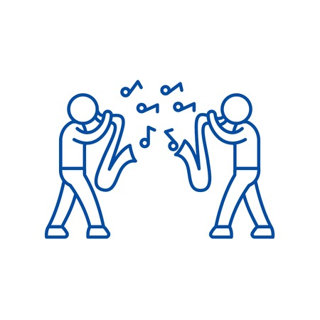 Jazz line concept icon. Jazz flat  vector website sign, outline symbol, illustration.