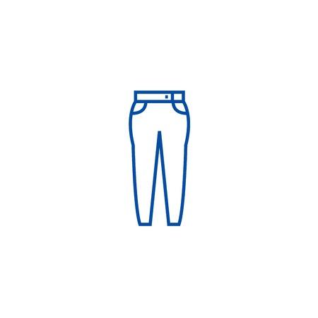 Jeans line concept icon. Jeans flat  vector website sign, outline symbol, illustration.