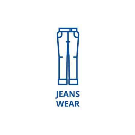 Jeans wear line concept icon. Jeans wear flat  vector website sign, outline symbol, illustration.