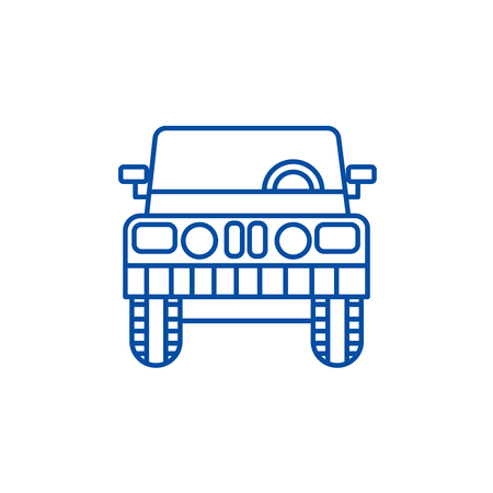 Jeep, front view line concept icon. Jeep, front view flat  vector website sign, outline symbol, illustration.