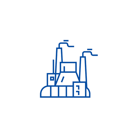 Industrial factory, power plant line concept icon. Industrial factory, power plant flat  vector website sign, outline symbol, illustration. Illustration