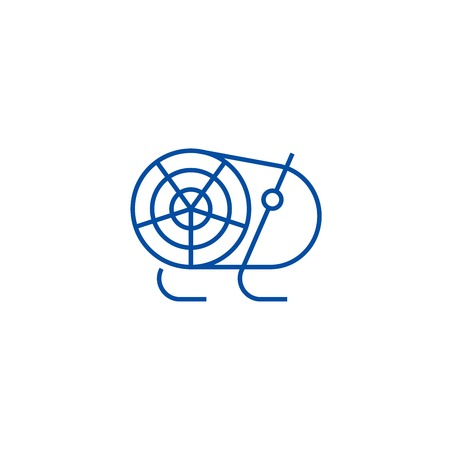 Industrial fan, heater line concept icon. Industrial fan, heater flat  vector website sign, outline symbol, illustration.  イラスト・ベクター素材