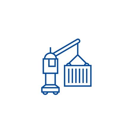 Industrial logistic crane with cargo line concept icon. Industrial logistic crane with cargo flat  vector website sign, outline symbol, illustration.