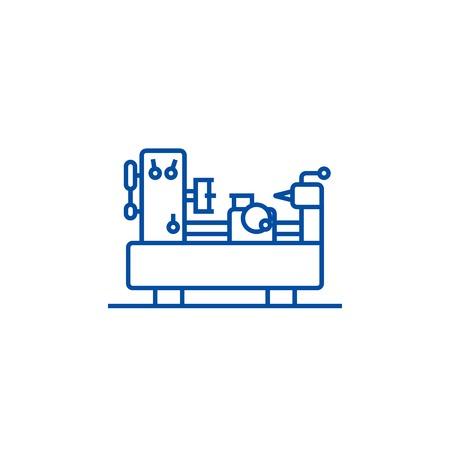 Industrial machine equipment line concept icon. Industrial machine equipment flat  vector website sign, outline symbol, illustration. Иллюстрация