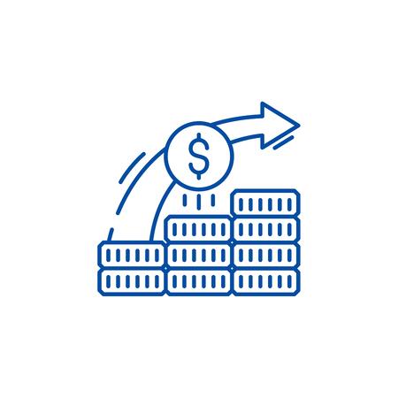 Investment system line concept icon. Investment system flat  vector website sign, outline symbol, illustration. Illustration