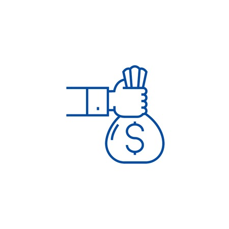 Investment,sponsor,funding line concept icon. Investment,sponsor,funding flat  vector website sign, outline symbol, illustration. Ilustração