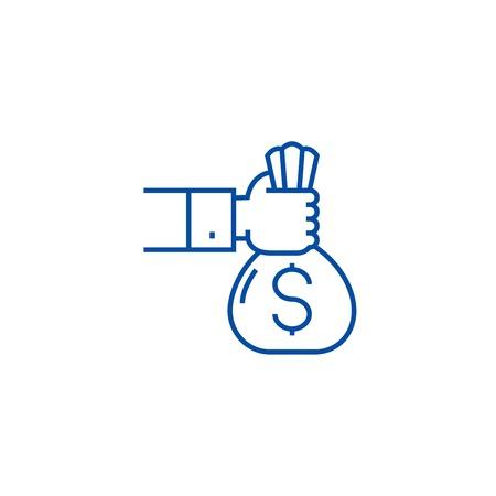 Inwestycja, sponsor, ikona koncepcja linii finansowania. Inwestycja, sponsor, finansowanie płaskie wektor znak strony internetowej, symbol konspektu, ilustracja.