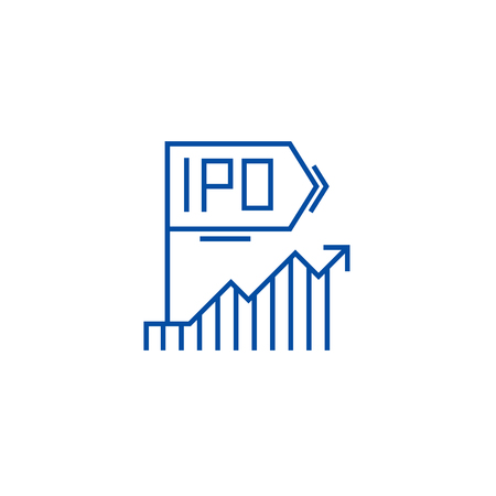Ipo line concept icon. Ipo flat  vector website sign, outline symbol, illustration.