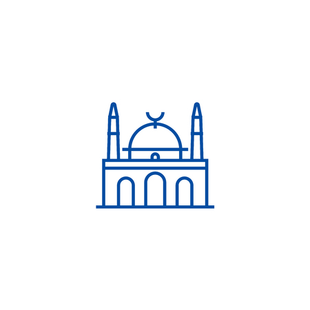 Islam mosque line concept icon. Islam mosque flat  vector website sign, outline symbol, illustration.
