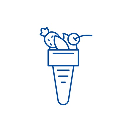 Italian ice cream line concept icon. Italian ice cream flat  vector website sign, outline symbol, illustration.