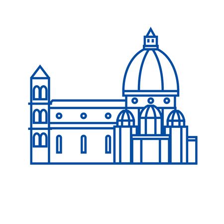 Italy, temple, florence cathedral line concept icon. Italy, temple, florence cathedral flat  vector website sign, outline symbol, illustration. Иллюстрация