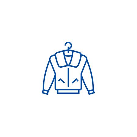 Jacket line concept icon. Jacket flat  vector website sign, outline symbol, illustration. Stock Illustratie