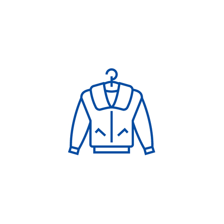 Jacket line concept icon. Jacket flat  vector website sign, outline symbol, illustration. Illustration