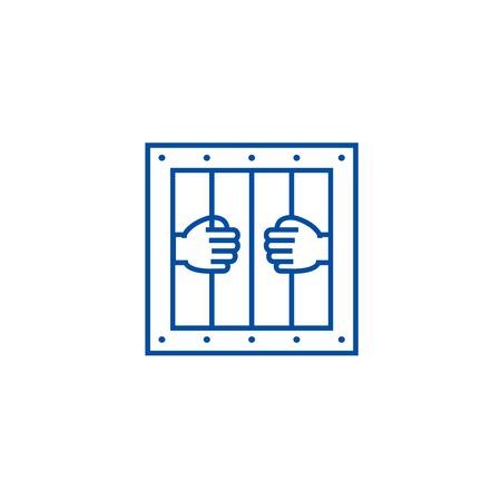 Gefängnis Symbol Leitung Konzept. Gefängnis flache Vektor-Website-Zeichen, Umrisssymbol, Illustration.