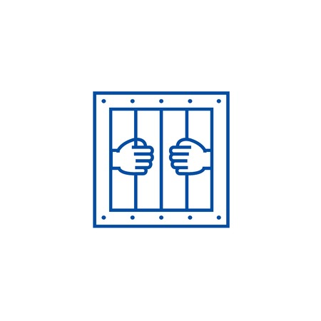 Jail line concept icon. Jail flat  vector website sign, outline symbol, illustration.