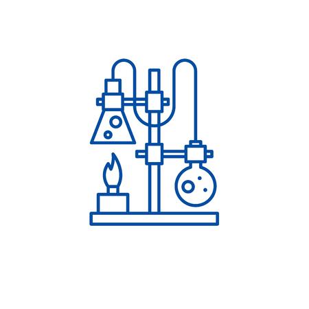 Chemistry lab line concept icon. Chemistry lab flat  vector website sign, outline symbol, illustration.