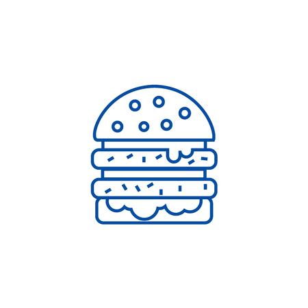 Cheeseburger line concept icon. Cheeseburger flat  vector website sign, outline symbol, illustration.