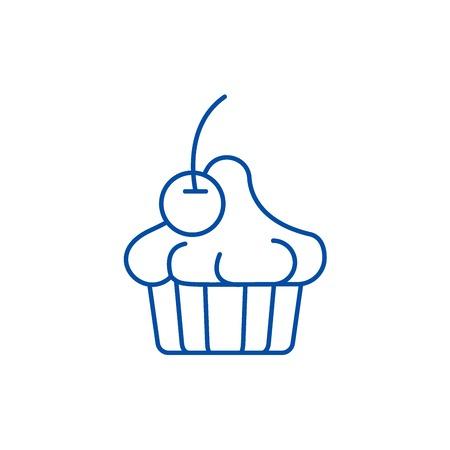 Cherry dessert line concept icon. Cherry dessert flat vector website sign, outline symbol, illustration. Vektoros illusztráció