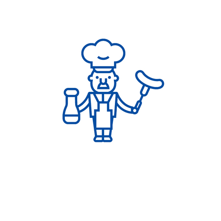 Chef cooking  line concept icon. Chef cooking  flat  vector website sign, outline symbol, illustration.  イラスト・ベクター素材