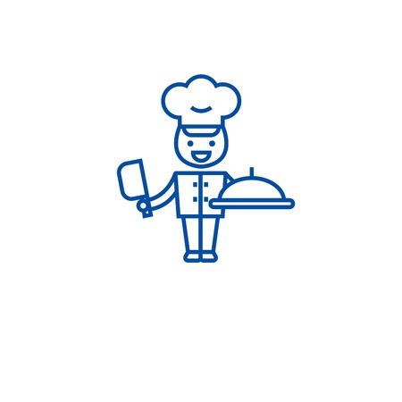 Chef cooking in kitchen line concept icon. Chef cooking in kitchen flat  vector website sign, outline symbol, illustration.