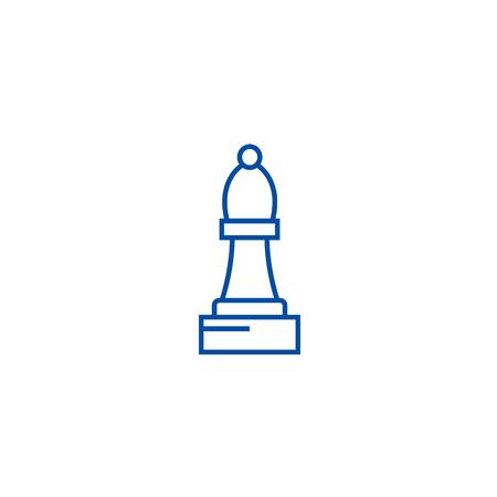 Chess bishop line concept icon. Chess bishop flat  vector website sign, outline symbol, illustration. 스톡 콘텐츠 - 119715460