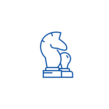 Chess horse, pawn line concept icon. Chess horse, pawn flat  vector website sign, outline symbol, illustration. Ilustração