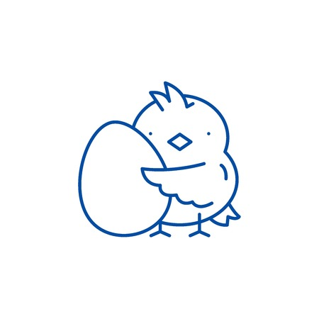 Chick with an egg line concept icon. Chick with an egg flat  vector website sign, outline symbol, illustration.  イラスト・ベクター素材