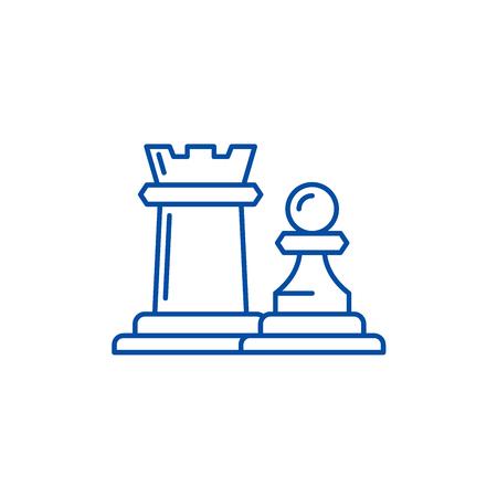 Icône de concept de ligne de tour et de pion de pièces d'échecs. Pièces d'échecs tour et pion télévision vector website sign, symbole du contour, illustration. Vecteurs