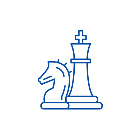 Chess pieces, knight and queen line concept icon. Chess pieces, knight and queen flat  vector website sign, outline symbol, illustration. 일러스트