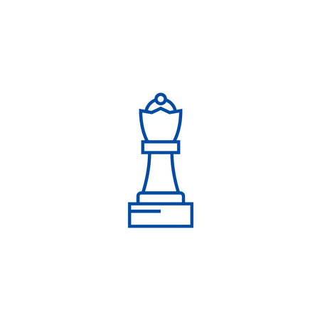 Chess queen line concept icon. Chess queen flat  vector website sign, outline symbol, illustration. 일러스트
