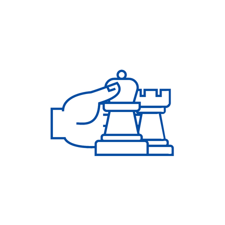 Chess strategy and tactics line concept icon. Chess strategy and tactics flat  vector website sign, outline symbol, illustration.
