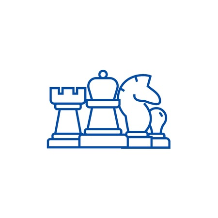 Chess, horse, rook, pawn, queen line concept icon. Chess, horse, rook, pawn, queen flat  vector website sign, outline symbol, illustration.