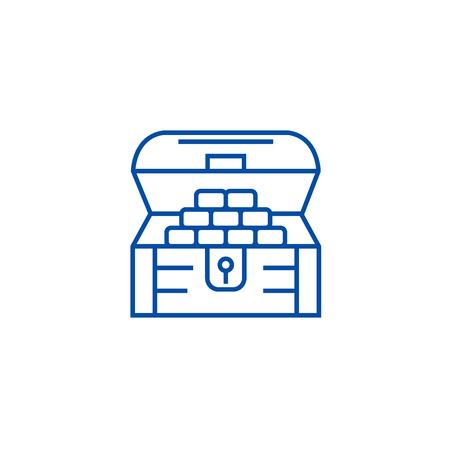 Chest of money,treasure line concept icon. Chest of money,treasure flat  vector website sign, outline symbol, illustration.