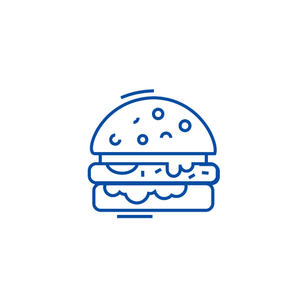 Cheese burger line concept icon. Cheese burger flat  vector website sign, outline symbol, illustration.