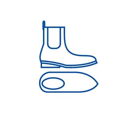 Chelsea boots line concept icon. Chelsea boots flat  vector website sign, outline symbol, illustration. Archivio Fotografico - 119715473