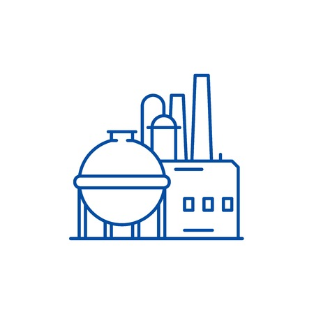 Chemical factory line concept icon. Chemical factory flat  vector website sign, outline symbol, illustration.