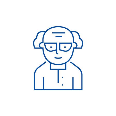 Chemist,scientist line concept icon. Chemist,scientist flat  vector website sign, outline symbol, illustration.